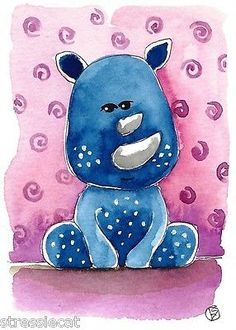 ACEO Original Watercolor Folk Art Illustration Whimsical Animals Baby Rhino | eBay Save The Rhino, Baby Rhino, Drawing Sketches, Drawings, Rhinos, Watercolor Ideas, Artist Trading Cards, Digi Stamps, Whimsical Art