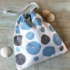 Hand screen printed fabric drawstring cosmetic / door Hannahattwell, £9.50