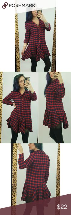 """Red + navy plaid flannel dress M ruffle longsleeve Ultra cute flannel plaid ruffle dress in excellent used condition.  Red + navy blue long-sleeve button-up mini dress with asymmetrical hem.  Marked as an XL but fits more like a Medium. Shown on Small, a little big.  Fabric is noy stretchy.  Bust up to 38"""" around, Waist up to 35"""" around, Hip up to 38"""" around, Length 33,"""" Sleeve Length 23."""" Dresses Long Sleeve"""