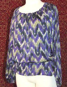 MICHAEL KORS purple polyester long sleeve blouse M (T47-01C7G) #MichaelKors #Blouse #Casual