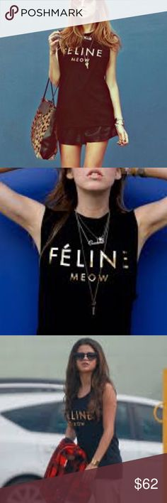 ⬇️Brian Lichtenberg BLTEE Feline muscle tee⬇️ So amazing with just about anything! Will post pics of actual shirt tomorrow. Is in perfect condition. Gold foil letters read feline and meow under it. really nice shirt quality and always gets lots of smiles  as seen on Selena Gomez. On sale today $10 off! Brian Lichtenberg Tops Muscle Tees