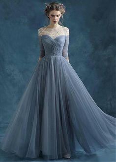 Elegant Tulle Jewel Neckline Full-length A-line Prom Dresses