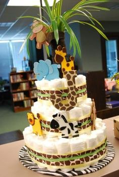 Diaper cake I made for an animal-themed baby shower by stacy