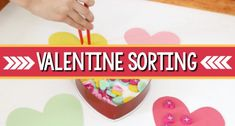 Valentine Color Sorting Activity - Pre-K Pages Pam Cushman Valatines Sort heart-shaped erasers in this valentine color sorting activity to develop math thinking and reasoning skills; for preschool, pre-k, and kindergarten. Valentines Songs For Kids, Valentine Sensory, Valentine Candy Hearts, Valentine Theme, Valentines Day Activities, Playdough Activities, Sorting Activities, Literacy Activities, Valentines Card Holder