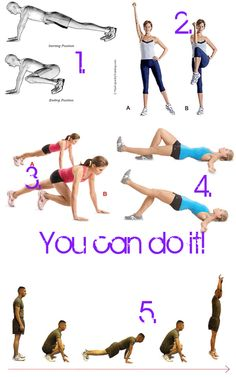 30 plank v jumps 20 knee cross crunches (each leg) 1 minute mountain climber 15 sngle leg hip extensions (each leg) 30 burpees Burpees, Crunches, Fitness Challenges, Mountain Climbers, Getting Bored, Workout Challenge, Bathroom Storage, Plank