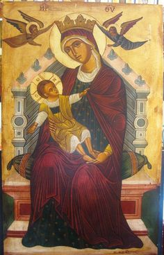 Agiography, Virgin Mary with Christ by Konstantinos Kountouris  Style:tempera with leaves of gold  Size:1,00x0,60