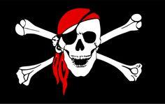 Gráficos de vetor da bandeira de pirata negro com sorrindo a caveira e ossos