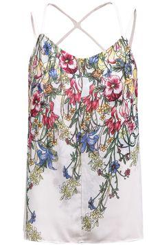 White Criss Cross Back Floral Chiffon Vest 13.67