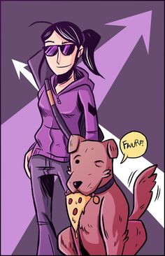 Lady Hawkguy (Kate Bishop) and Pizza Dog! Seriously people go out and read Matt Fractions run on Hawkeye!!!
