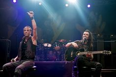 Gary Cherone and Nuno Bettencourt of Extreme perform on stage at The Forum on July 8 2014 in London United Kingdom