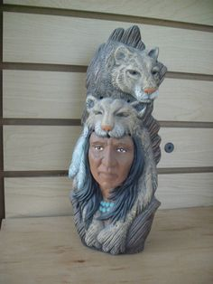 Indian pottery Southwest Art decor Cougar Spirit Warrior Totem pole Faux wood carved ceramic totem Gifts for him Western Cowboy Indian art by MapleHillCeramics on Etsy