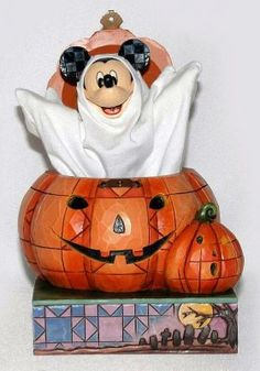 """Mickey probably thinks he's real scary as a Halloween ghost, but we just think he's cuter than ever! """"BEWARE OF THE PUMPKIN"""" - MICKEY MOUSE AS GHOST FIGURINE (Jim Shore Disney Traditions)"""