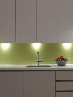 Green glass splashback in Roundhouse kitchen