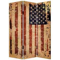 Add a patriotic touch to your home decor with this unique, handcrafted 3-panel room divider. Featuring a brilliant red, white and blue American flag design in a weathered, antiqued finish, this charming screen is light weight and easy to move.