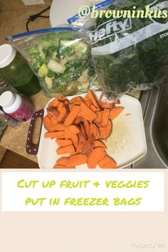 Cut up fruit and veggies put in freezer bags for easy juicing on same day.  If you do smoothies you can freeze them too. You won't be able to properly juice them after freezing unless you use a Vitamix or Bullet type juicer.  www.jackiebrownsbc.com  Friend or follow Jackie Nelson Brown on most social media networks as @browninkus   #juicing #juicefast #tips #eatraw #cleaneating #loseweight #weightloss #getpaidtoloseweight #wah #residualincome #BBW #makemoneyonline #piccollage #jackiebrownsbc
