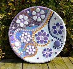 Glass mosaic purple white and gold dish by mimosaico on Etsy