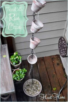 Rain Chains guide rain water down chain links making beautiful water displays.Make this one using chain, terra cotta pots and a saucer filled with pebbles.