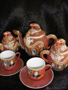 juego cafe tetera japón estilo satsuma dos serv - Comprar Porcelana Japonesa Antigua en todocoleccion - 50114270