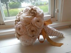 Crocheted Bridal Bouquet Vintage Charm by FirstComesLuvCrochet, $99.00