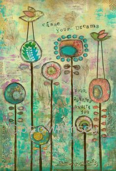 Chase Your Dreams…8 x 12 print…from original mixed media painting and collage