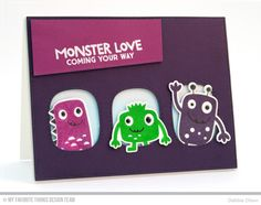 Monster Love Stamp Set and Die-namics, Stitched Triple Peek-a-Boo Window Die-namics, Blueprints 15 Die-namics - Debbie Olson  #mftstamps