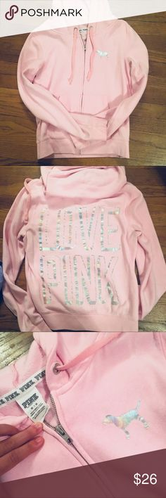 VS Pink Zip Up Like new condition. Only worn a couple of times! Graphics are NOT cracked or peeling. PINK Victoria's Secret Tops Sweatshirts & Hoodies