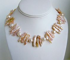 Biwa Stick Pearl Necklace by YSDesigns on Etsy, $155.00
