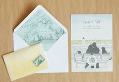 illustrated martha's vineyard save the date with nautical chart envelope liner