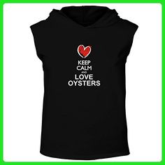 Idakoos - Keep calm and love Oyster chalk style - Animals - Hooded Sleeveless T-Shirt - Animal shirts (*Amazon Partner-Link)