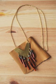 Brass Pyrite and Shell Spike Tribal Necklace by MichellesMarket, $48.00