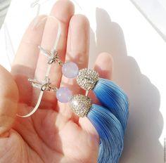 """Купить Серьги кисти """"Sky blue"""" шелк, агат - голубой, серьги, сережки, серьги кисти"""