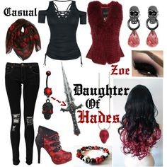 Daughter of Hades' casual outfit on We Heart It Cute Emo Outfits, Bad Girl Outfits, Komplette Outfits, Fandom Outfits, Themed Outfits, Cosplay Outfits, Disney Outfits, Percy Jackson Cabins, Percy Jackson Outfits