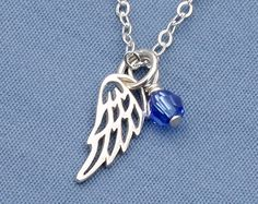 Angel+Wing+NecklaceBirthstoneSterling+by+MichelePosterJewelry,+$26.00