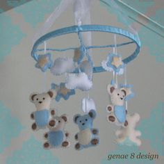 Felt Teddy Bear with Stars Baby MobileLight Blue by genae8design, $55.00