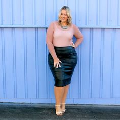 Plus size outfit, leather skirt with nude mesh body suit. Loved wearing this outfit!