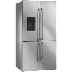 Buy Smeg Elite American Fridge Freezer With Convertible Compartment And Ice/Water Dispenser - Stainless Steel from Appliances Direct - the UK's leading online appliance specialist 4 Door Fridge, Refrigerator Freezer, French Door Refrigerator, Smeg Fridge, American Fridge Freezers, American Style Fridge Freezer, Stainless Steel Doors, Stainless Steel Appliances, Kitchen Appliances