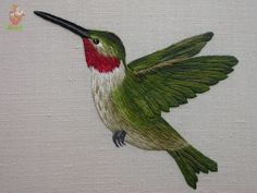 When embroidered in silk - thread painting is also known as silk shading. This exquisite hummingbird was designed and embroidered by Kelley Aldridge when she was a student at the Royal School of Needlework. You can see more of Kelley's work on her Faceboo