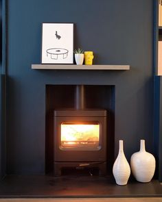 So excited to have our up and running. Rich always had a wood burner growing up so it was top of his list for… Empty Fireplace Ideas, Open Fireplace, Stove Fireplace, Log Burner Living Room, Lily Pebbles, Wood Burner, Blue Walls, Living Room Furniture, Lounge