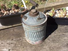 Rustic SAVORY Galvanized 1 Gallon Gas Can w/ Wooden Hinged Handle & Chippy Red Strip. CONDITION: All over surface wear, aging, signs of use SIZE/DIMENSIONS: 12 inches tall handle fully extended, 10 inches tall can only, inch diameter/width Vintage Metal, Vintage Silver, Silver Table, Silver Gifts, Handle, Rustic, Canning, Etsy, Country Primitive