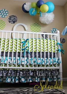 Love these colors! Ruffled Crib Skirt Tutorial {Nursery Bedding Reveal} | Positively Splendid {Crafts, Sewing, Recipes and Home Decor}