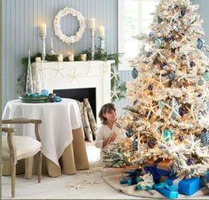 starfish shells turquoise decorated christmas tree