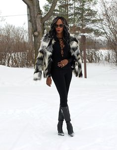 Lace up top & faux fur jacket. #ootd #laceup see more ---> stylemydreams.com