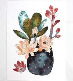 Cactus suculentas pintura, arte acuarela, lámina archivo - colección de desierto
