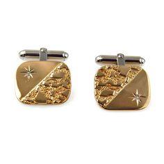 Vintage Modernist 14k Gold Sterling Diamond Cufflinks Space Age