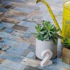 Distressed blue wood lino vinyl flooring