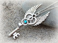 Silver and Blue Zircon Music Note Key Necklace by ArtByStarlaMoore on DeviantArt