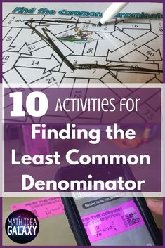 Practice finding the least common denominator with fun activities and games! Check out all 10 common denominator activity ideas. Simplifying Fractions, Teaching Fractions, Math Fractions, Teaching Math, Teaching Ideas, Math Activities, Math Resources, Classroom Resources, Math Games