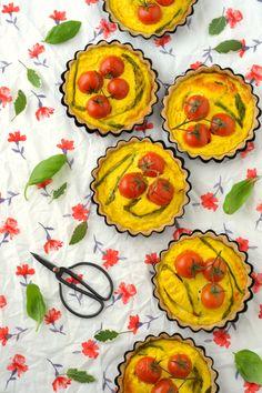 Asparagus, Basil and Tomato Mini Quiches   Sweet Gula