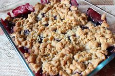 Blueberry Apple Crumble With Apples, Blueberries, Flour, Sugar, Cinnamon, Lemon Juice, Butter, Flour, Brown Sugar, Butter, Salt