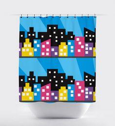 Multi Colored Superhero City Shower Curtain - Print Art Shoppe